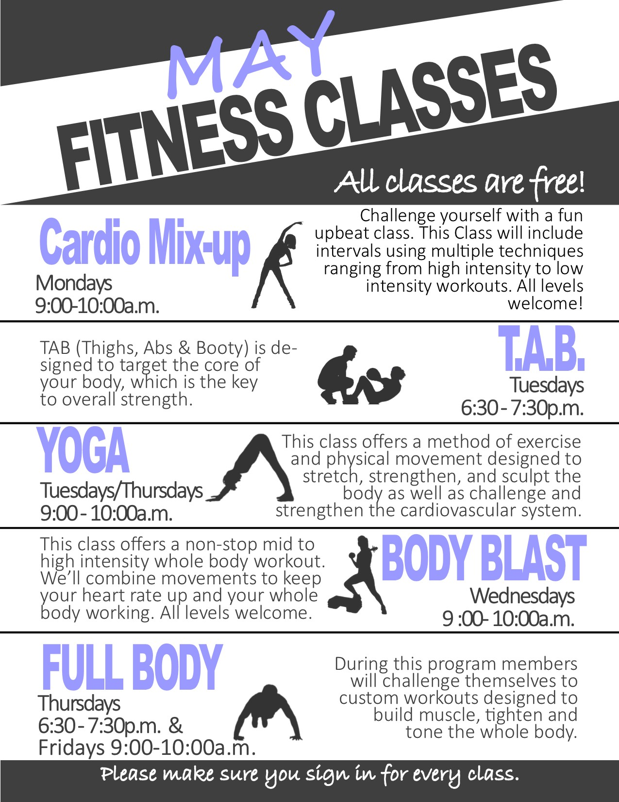 May 2019 Fitness Classes
